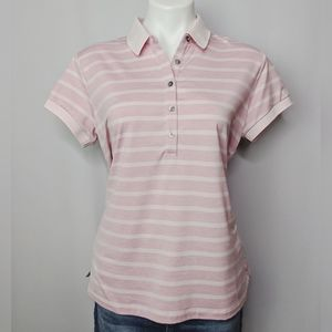 Adidas Golf Pink Striped Polo Shirt Like New Sz L